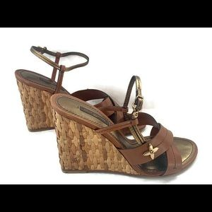 NIB Louis Vuitton Rataan wicker wedge euro 38 7-8